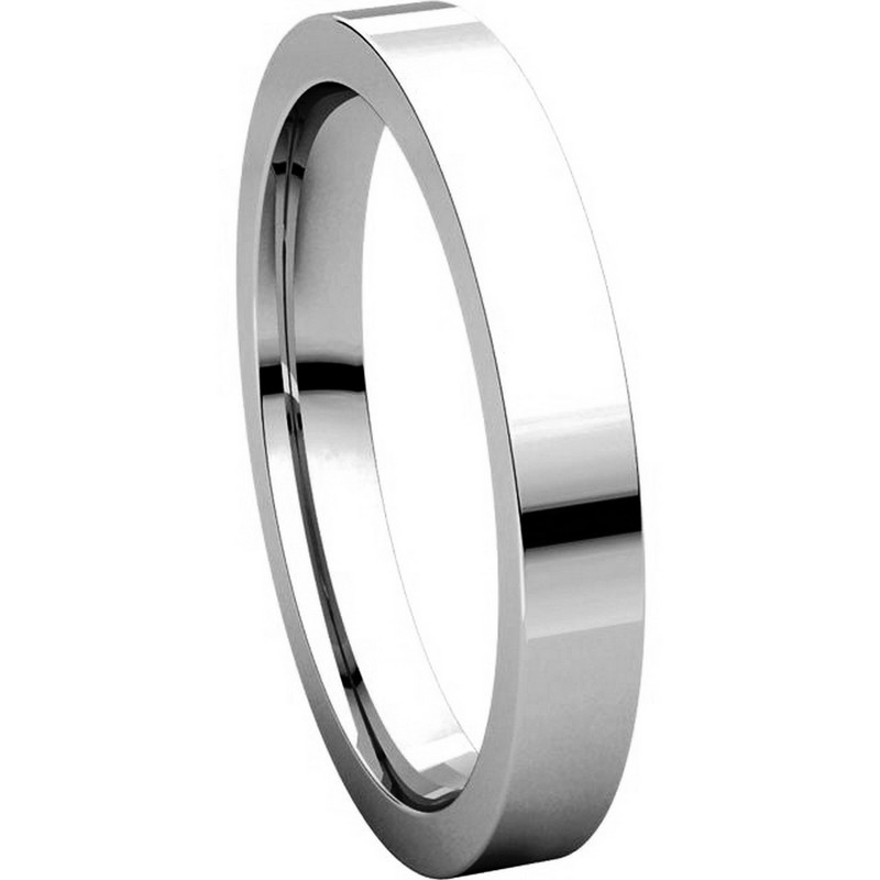 Item # 118381WE View 5 - White Gold Flat  comfort fit Wedding Band