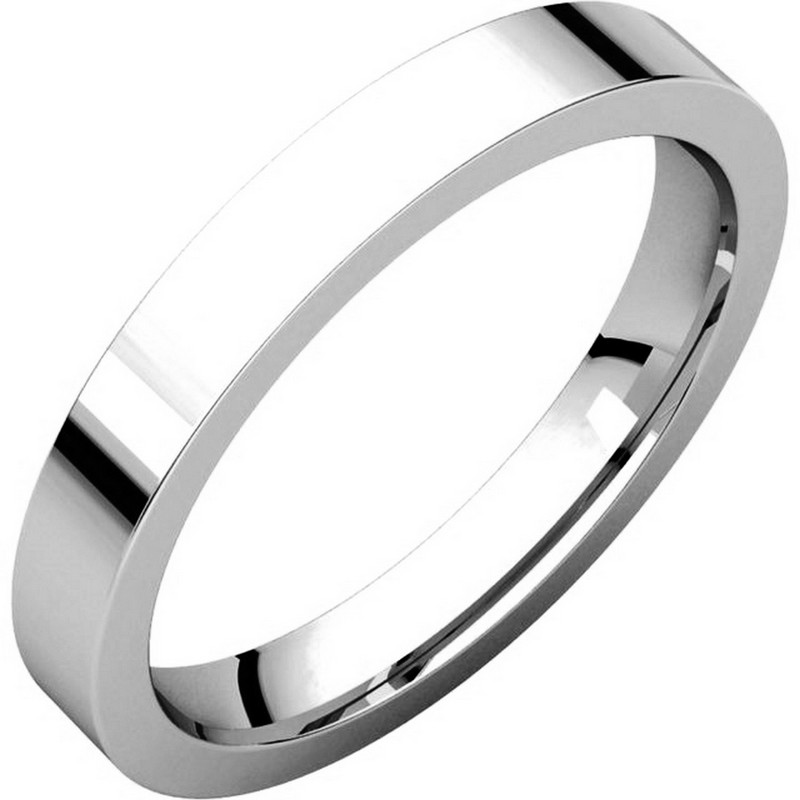 Item # 118381WE - 18 kt white gold Plain 3.0 mm Wide Flat Comfort Fit Wedding Band. The ring is a polished finish. Different finishes may be selected or specified.