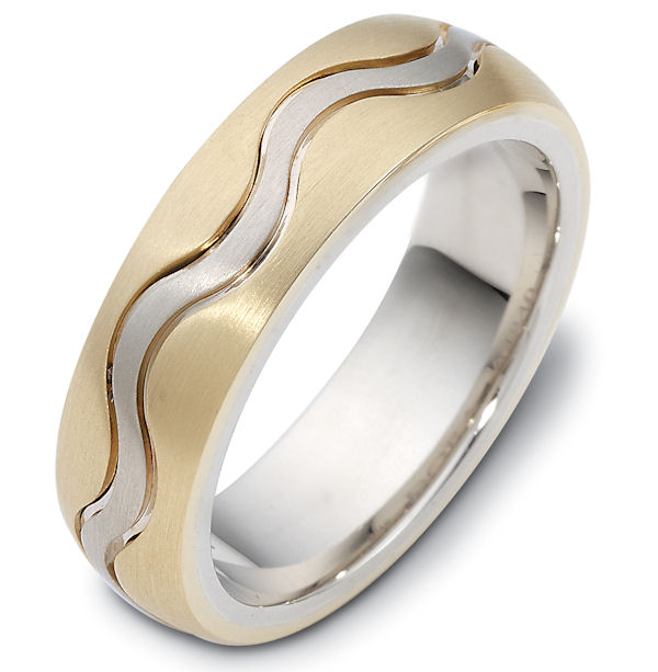 Item # 118401 - 14 kt two-tone hand made comfort fit Wedding Band 7.0 mm wide. The ring is a matte finish. Different finishes may be selected or specified.