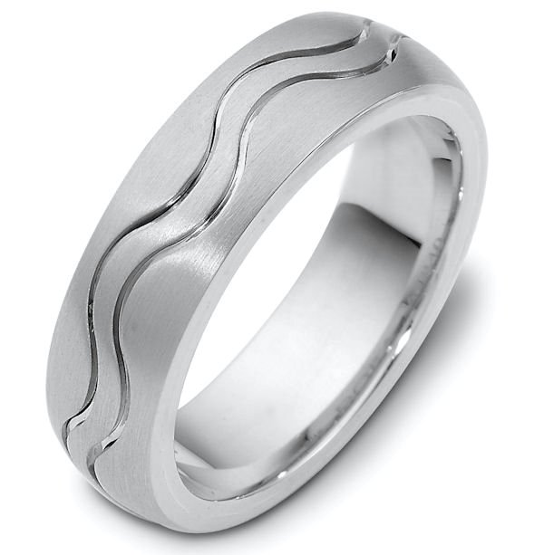 Item # 118401AG - Sterling silver, hand made comfort fit Wedding Band 7.0 mm wide. The ring is a matte finish. Different finishes may be selected or specified.
