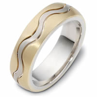 Item # 118401E - 18 kt Gold Wedding Band,  Musical Harmony