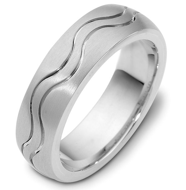Item # 118401W - 14 kt white gold, hand made comfort fit Wedding Band 7.0 mm wide. The ring is a matte finish. Different finishes may be selected or specified.
