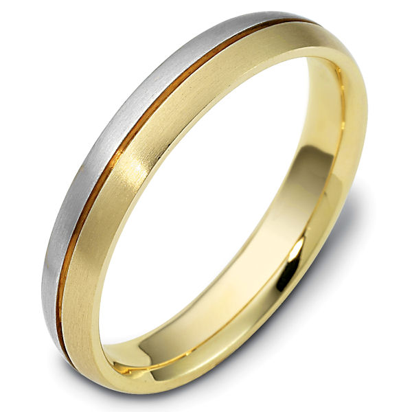 Item # 118411E - 18kt Two-tone gold classic, comfort fit, 4.0mm wide wedding band. The ring is all brushed finish. Different finishes may be selected or specified.