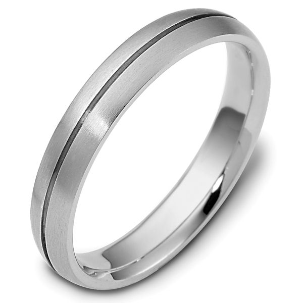 Item # 118411W - 14kt White gold classic, comfort fit, 4.0mm wide wedding band. The ring is all brushed finish. Different finishes may be selected or specified.