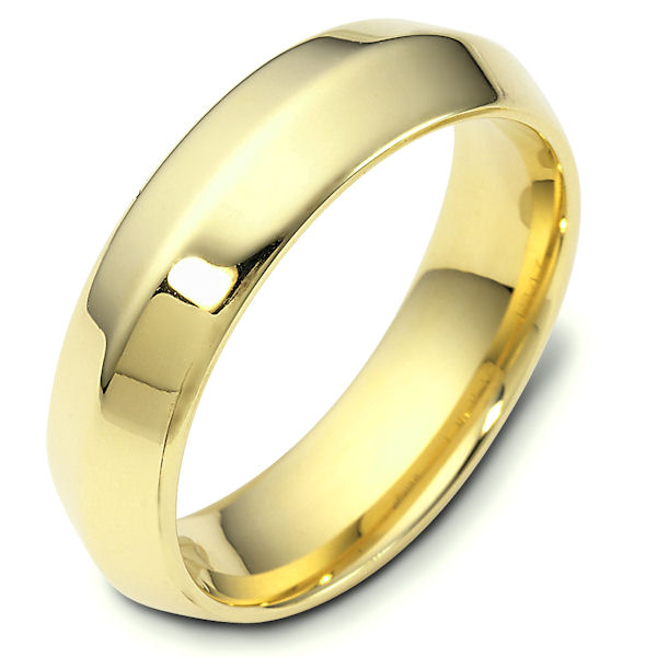 Item # 118471E - 18kt Yellow gold modern contemporary, comfort fit, 6.0mm wide wedding band. The ring has a polished finish. Different finishes may be selected or specified.