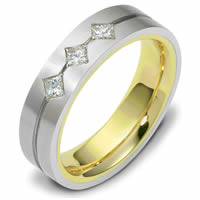 Item # 118561E - 18K Gold Diamond Wedding Band