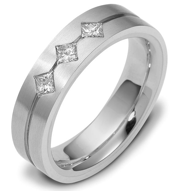 Item # 118561WE - 18 KWhite gold, 5.5 mm wide, comfort fit, princess cut diamond wedding band. 0.30 ct diamond VS1 in Clarity G in Color. The ring is a brush finish. Different finishes may be selected or specified.