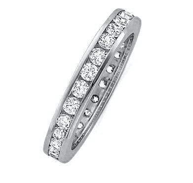 Item # 118581AW - 14K white gold 3.0 mm wide diamond ring. 1.0 ct estimated total diamond weight. Diamond weight is estimated for size 6.0 ring. The diamonds are graded as VS1 in Clarity G in Color. The ring is a polished finish.