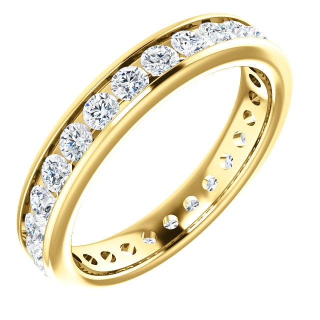 Item # 118581E - 18K gold 3.0 mm wide, diamond ring. Diamond weighs 1.0 ct. Diamond weight is estimated for size 6.0 ring. The diamonds are graded as VS1 in Clarity G in Color. The ring is a polished finish.