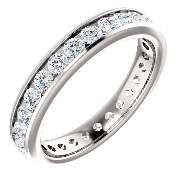 Item # 118581PP - Platinum 3.0 mm wide, diamond ring. Diamond weighs 1.0 ct. Diamond weight is estimated for size 6.0 ring. The diamonds are graded as VS1 in Clarity G in Color. The ring is a polished finish.