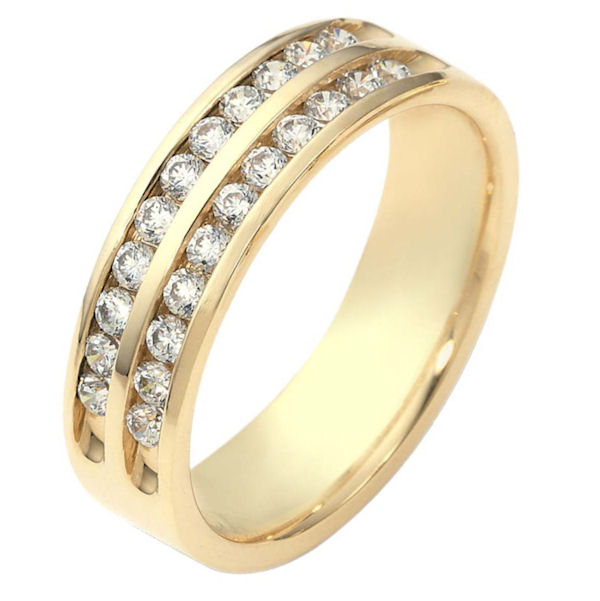 Item # 118611AE - 18 kt gold, 5.5 mm wide, comfort fit, diamond band features Two rows of 12 Diamonds with a total weight of 0.55 ct and are graded as VS1 in Clarity G in Color. The ring is a polished finish. Different finishes may be selected or specified.