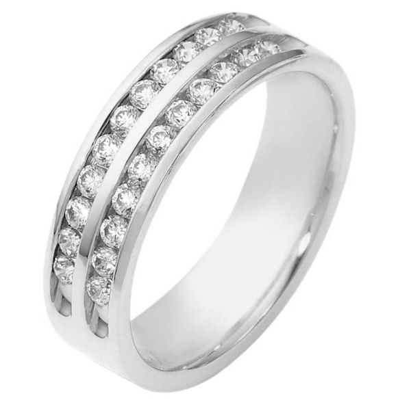 Item # 118611AWE - 18 kt white gold, 5.5 mm wide, comfort fit, diamond band features Two rows of 12 Diamonds with a total weight of 0.55 ct and are graded as VS1 in Clarity G in Color. The ring is a polished finish. Different finishes may be selected or specified.