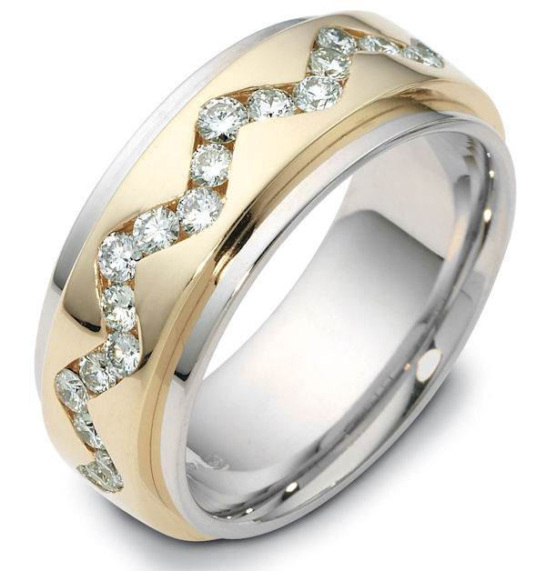 Item # 119151E - 18K Gold Rotating, Diamond Wedding Band View-1