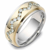 18K Gold Rotating, Diamond Wedding Band