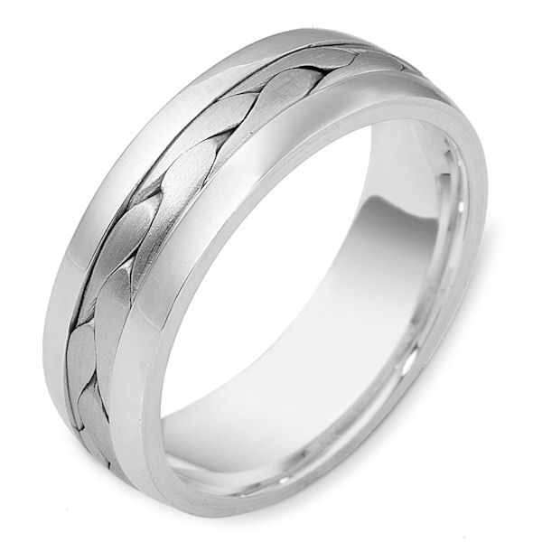 Item # 119911W - 14 K white gold, 7.0 mm wide, comfort fit, braided wedding band. The braid in the center is hand crafted with a matte finish. The outer edges are polished. Different finishes may be selected or specified.