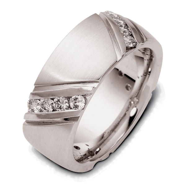 Item # 120251A - 14K White gold, 8.0 mm wide, comfort fit 0.80 ct total weight diamonds in size 6. Diamonds are graded as VS in clarity G-H in color. The grooves are polished and the rest of the band is matte. Different finishes may be selected or specified.