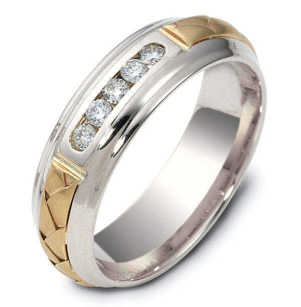 Item # 120561E - 18K Hand Made Gold Diamond Wedding Ring View-1
