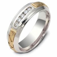 Item # 120561E - 18K Hand Made Gold Diamond Wedding Ring
