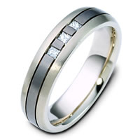 Item # 120641TG - Titanium-14 K Gold Diamond Wedding Ring