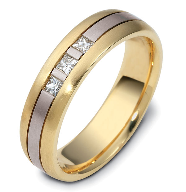 Item # 120641E - 18K, two-tone, 6.0 mm wide, comfort fit, diamond wedding band. Diamonds total weight is 0.21 ct and are graded as VS1 in Clarity G in Color. The ring is a matte finish. Different finishes may be selected or specified.