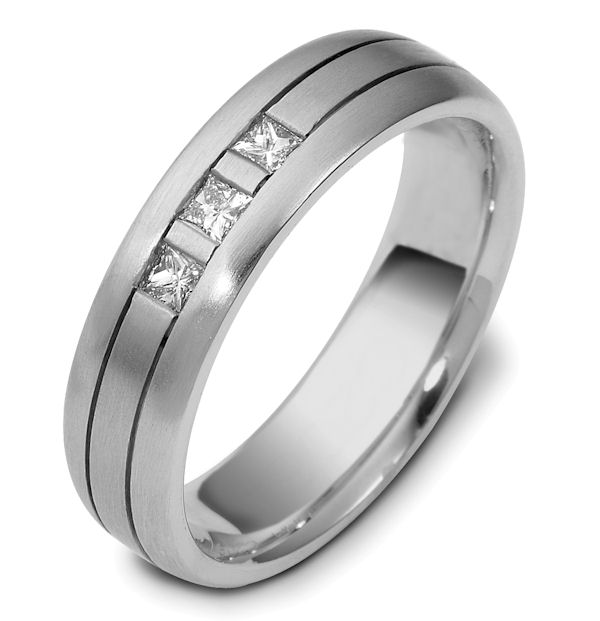 Item # 120641WE - 18 kt white gold, 6.0 mm wide, comfort fit, diamond wedding band. Diamonds total weight is 0.21 ct and are graded as VS1 in Clarity G in Color. The ring is a matte finish. Different finishes may be selected or specified.