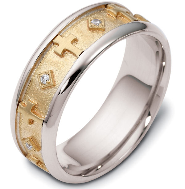 14K Gold Diamond Cross Wedding Ring(0.08ct. tw.)