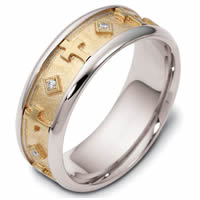 18K Gold Diamond Cross Wedding Ring(0.08ct. tw.)