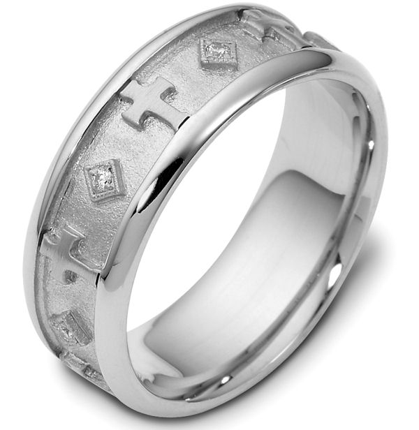 Item # 120961WE - 18 kt white gold, 7.0 mm wide, comfort fit, diamond wedding band. Diamonds total weight is 0.08 ct and are graded as VS1 in Clarity G in Color. The center is a coarse and heavy sandblast finish. The crosses around the ring and the rest of the band are polished. Different finishes may be selected or specified.