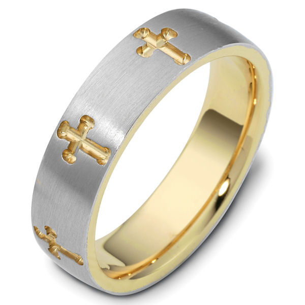 Item # 120971E - Gold, Comfort Fit, 6.0mm Wide Cross Wedding Ring. View-1