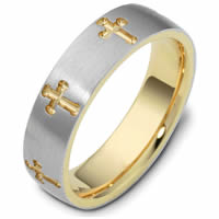 Gold, Comfort Fit, 6.0mm Wide Cross Wedding Ring.