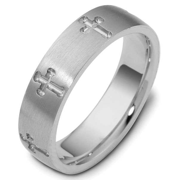 Item # 120971WE - 18K White gold, 6.0 mm wide wide comfort fit crosses engraved wedding band. The ring has a matte finish and the carved crosses have a polished finish. Different finishes may be selected or specified.