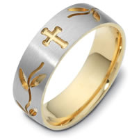 Gold, Comfort Fit, 7.0mm Wide Cross Wedding Ring.