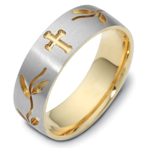 Item # 120981E - 18K 7.0 mm wide, comfort fit Cross and leaves carved wedding band. The ring has a matte finish and the carved crosses and leaves have a polished finish. Different finishes may be selected or specified.