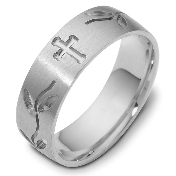 Item # 120981WE - 18K Cross and Leaves Carved Wedding Band. 7.0 mm Wide. The ring has a matte finish and the carved crosses and leaves have a polished finish. Different finishes may be selected or specified.