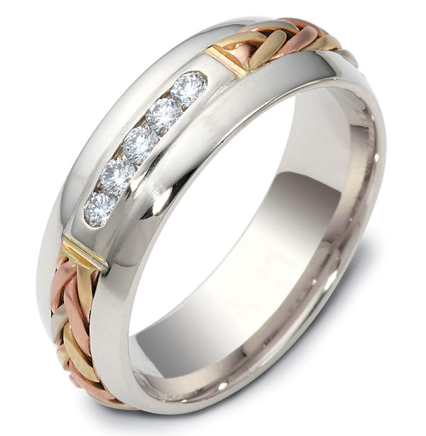 Item # 121171 - 14K Hand Made Gold Diamond Wedding Ring View-1