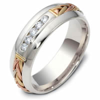 Item # 121171E - 18K Hand Made Gold Diamond Wedding Ring