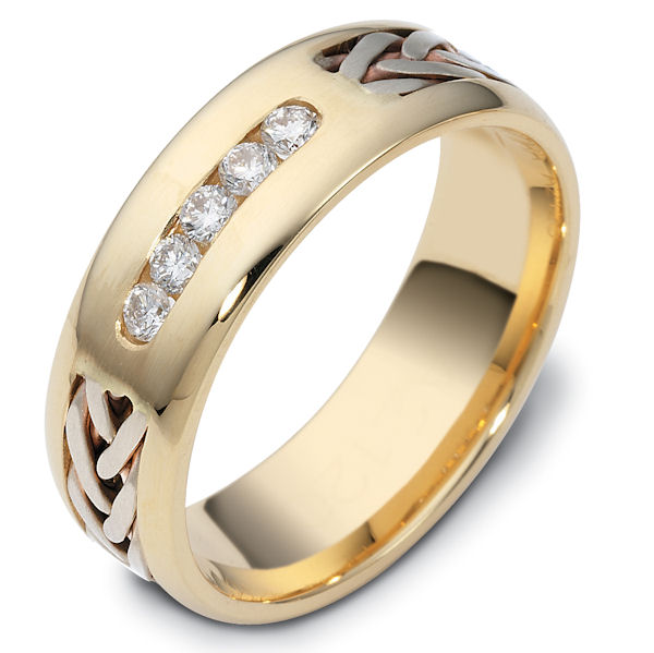 14K Hand Made Gold Diamond Wedding Ring