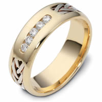 Item # 121201E - 18K Hand Made Gold Diamond Wedding Ring