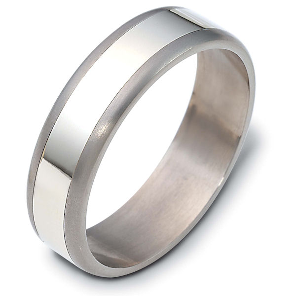 Item # 121831TG - 14 kt white gold and titanium, 6.0 mm wide wedding band. The white gold is polished and the titanium is matte. Different finishes may be selected or specified.