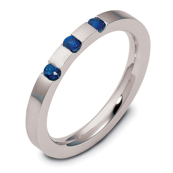 Item # 121901PD - Palladium, 2.5 mm wide, comfort fit, 0.12 ct total weight blue sapphire band. The ring has a matte finish. Different finishes may be selected or specified.