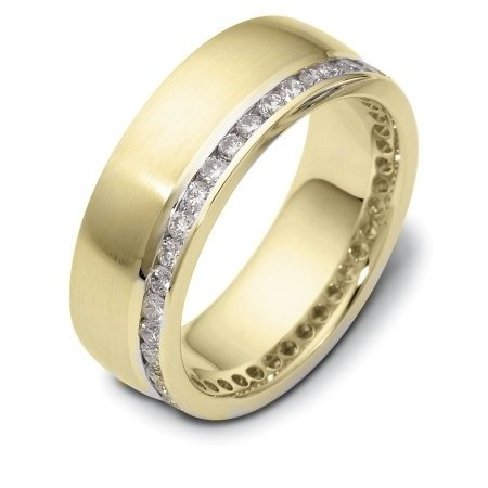 Item # 121941A - 14K gold 8.0 mm. wide diamond ring. Diamonds total weight is 0.80 ct in size 6.0. Diamonds are VS1-2 in clarity G-H in color. The ring has a matte finish and there is a polished line near the diamonds. Different finishes may be selected or specified.