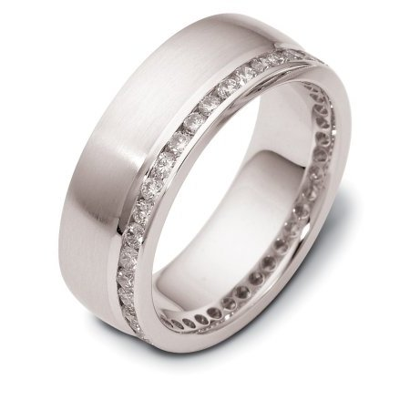 Item # 121941AW - 14 K White gold, 8.0 mm. wide diamond ring. Diamonds total weight is approximately 0.80 ct in size 6.0. Diamonds are VS1-2 in clarity G-H in color. The ring has a matte finish and there is a polished line near the diamonds. Different finishes may be selected or specified.