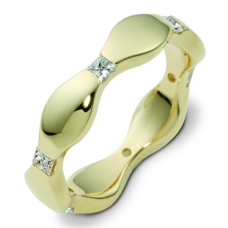 Item # 122001E - 18 K yellow gold 5.0 mm wide, polished wavy, polished finish diamond ring. Diamonds total weight is 0.30ct. Diamonds are VS1-2 in clarity G-H in color. The ring is a polished finish. Different finishes may be selected or specifed.