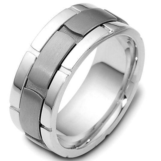 Item # 122041TG - 14 kt white gold and titanium , comfort fit, 9.0 mm wide wedding band.