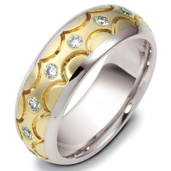 Item # 122161E - 18 K two-tone gold 7.0 mm. wide, diamond ring. Diamonds total weight is 0.50 ct in size 6.0. Diamonds are VS1-2 in clarity G-H in color.