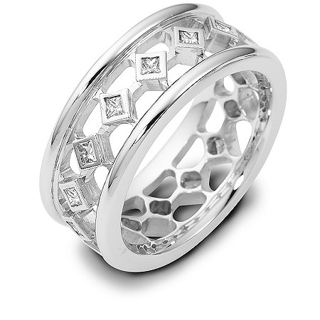 Item # 122221AW - 14 K white gold, hand made, 7.0 mm wide, diamond ring. Diamonds total weight is 0.38ct in size 6.0. Diamonds are VS1-2 in clarity G-H in color. The ring has a polished finish. Different finishes may be selected.
