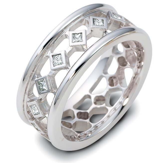 Item # 122221WE - 18 kt white gold, hand made, 7.0 mm wide, diamond ring. Diamonds total weight is 0.38ct in size 6.0. Diamonds are VS1-2 in clarity G-H in color. The ring has a polished finish. Different finishes may be selected.