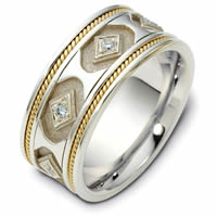 Item # 122281E - 18K Hand Made Gold Diamond Wedding Ring