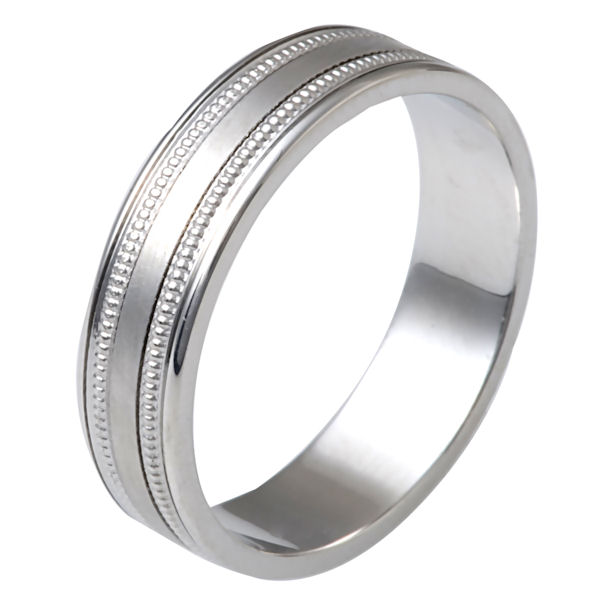 Item # 12721W - 14 kt white gold, classic, 5.0 mm wide, wedding band. The ring is a classic style with milgrain in the band. It has 5.0 mm wide and has a polished finish. Other finishes may be selected or specified.