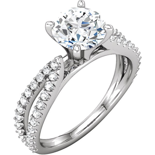 Item # 127634W - 14K white gold diamond engagement ring. The ring holds 46 round brilliant cut diamond with total weight of 0.38ct. The diamonds are graded as SI1 in Clarity G-H in color. The ring in the center holds round brilliant ideal cut diamond that weighs 0.75ct. The diamond is certified by GIA as SI1 in clarity H in color. The ring can be made with different size and shape diamonds.
